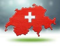 瑞士设计地图与足球场草纹理的  免版税库存照片