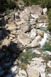 瑞士谷的河在Rossa的 免版税库存照片