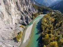 瑞士谷的莱茵河峡谷 库存照片