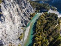 瑞士谷的莱茵河峡谷 免版税库存照片