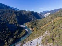 瑞士谷的莱茵河峡谷 库存图片