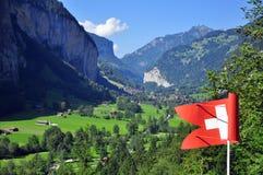瑞士谷视图 免版税库存照片