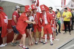瑞士足球迷在顿河畔罗斯托夫,俄罗斯 免版税库存图片
