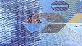 """瑞士金钱†""""100 CHF,分法郎-呈虹彩条纹钞票†""""全息照相的条纹,细节 股票录像"""