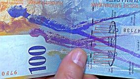 """瑞士金钱†""""100 CHF,分法郎-呈虹彩条纹钞票†""""全息照相的条纹,细节 股票视频"""