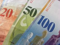 瑞士钞票的francks 库存图片