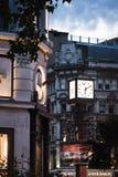 瑞士铁琴在黄昏的莱斯特广场 免版税图库摄影