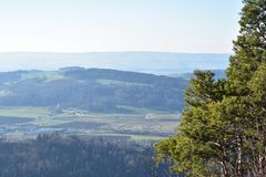 瑞士阿尔卑斯山脉的风景从于特利贝格的 免版税图库摄影