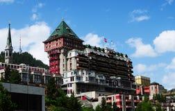 瑞士阿尔卑斯山脉:传奇Badrutt宫殿旅馆在圣盛生 免版税库存图片