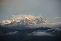 瑞士阿尔卑斯雪峰顶  库存照片