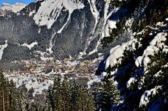 瑞士雪圣诞节山的文根 免版税库存图片
