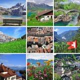 瑞士风景-拼贴画 免版税库存图片