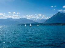 瑞士,卢达本纳,风船在反对天空的海 图库摄影