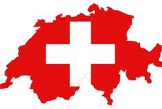 瑞士,瑞士联邦地图和旗子-主权国家在欧洲 皇族释放例证