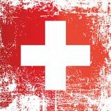 瑞士,瑞士联邦的旗子 起皱纹的肮脏的斑点 向量例证