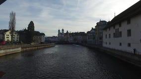 瑞士, 08 12 2016年:从著名Ponte dei卢赛恩看见的中世纪市的地平线Mulini, Spreuerbrà ¼ cke, 股票录像