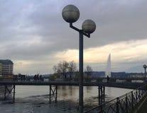瑞士, Genève,紫胶Léman 免版税库存照片