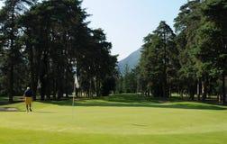 瑞士:在阿斯科纳城市高尔夫球场的Golfplayer  库存图片