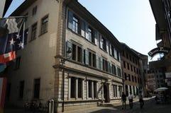 瑞士:当局大厦在老镇在巴登市市 库存图片
