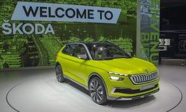 瑞士;日内瓦;2018年3月10日;斯柯达视觉X;第88个国际汽车展示会在从第8的日内瓦到第18 3月, 免版税库存照片