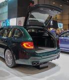瑞士;日内瓦;2019年3月9日;BMW Alpina B5双涡轮游览AWD;第89个国际汽车展示会在从第7的日内瓦 免版税库存图片