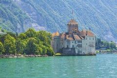 瑞士-小行政区沃州- Chillon城堡美丽的景色  免版税库存图片