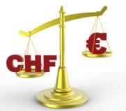 瑞士货币和欧洲对 库存照片