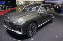瑞士;日内瓦;2018年3月8日;BMW X7全球首演  免版税库存图片