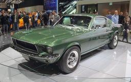 瑞士;日内瓦;2018年3月8日;Ford Mustang 1968前方 图库摄影