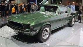 瑞士;日内瓦;2018年3月8日;Ford Mustang 1968前面从 免版税图库摄影
