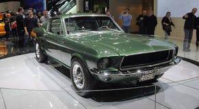瑞士;日内瓦;2018年3月8日;Ford Mustang 1968前面从 库存图片