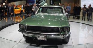 瑞士;日内瓦;2018年3月8日;Ford Mustang 1968前面; 免版税库存照片