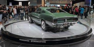 瑞士;日内瓦;2018年3月8日;Ford Mustang 1968后面; 库存照片