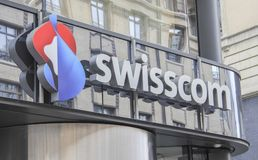 瑞士;日内瓦;2018年3月9日;Swisscom标志板;Swissco 免版税图库摄影