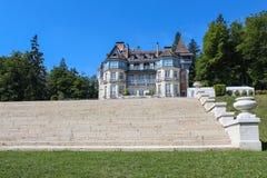 瑞士- 9月04 :议院在阿尔卑斯 免版税图库摄影