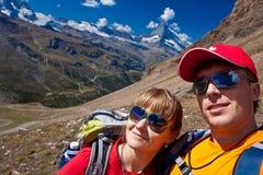 瑞士-马塔角peack,远足者 免版税库存照片
