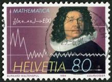 瑞士- 1994年:展示雅各布柏努利(原理) (1654-1705),数学家 图库摄影