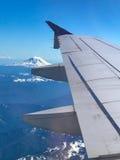 瑞尼尔山和胡德山飞机视图  免版税库存照片