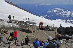 瑞尼尔山的,华盛顿登山人 免版税库存照片