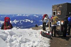 瑞尼尔山的,华盛顿登山人 免版税库存图片