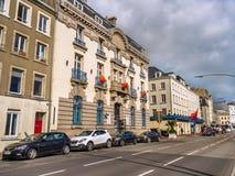 瑟堡-奥克特维尔,法国街道视图  免版税库存图片