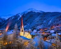 瑟尔登滑雪胜地地平线早晨,奥地利 免版税库存图片