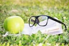 玻璃、书和苹果在绿草 免版税库存照片