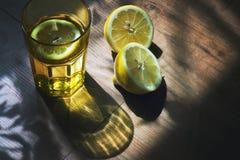 玻璃、柠檬和阴影 库存图片
