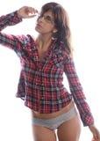 玻璃、法绒上面和内裤的妇女 免版税库存照片