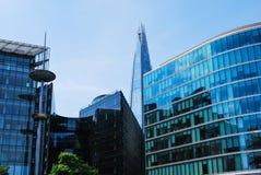 玻璃和另外4座伦敦办公楼碎片  图库摄影