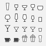 玻璃和杯子象 免版税库存图片