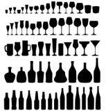 玻璃和瓶集合 免版税库存图片
