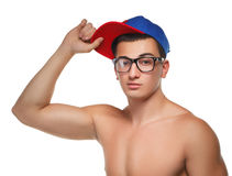 玻璃和盖帽的运动人 库存图片