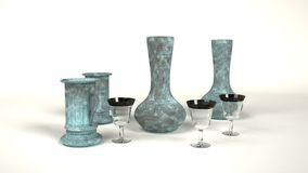 玻璃和铁与铜绿 免版税库存图片